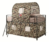 Camouflage tent bed