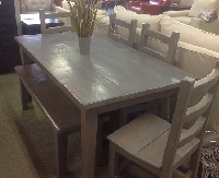Custom 6pc Dining Set in Reclaimed Wood with a Gray Finish