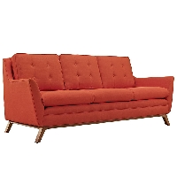 Beguile fabric sofa in atomic red