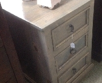 Custom 3 Drawer Pine Nightstand in a Light Gray Finish